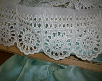 Antique Eyelet embroidery of fine cotton voile yardage