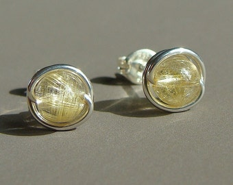 Rutilated Quartz Studs Post Earrings Wire Wrapped in Sterling Silver Stud Earrings Studs