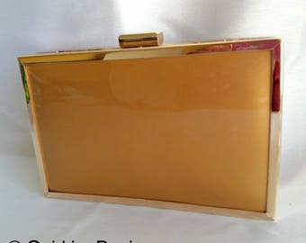 Gold Purse With Gold Hard Body Box Clutch Bag, Party Clutch, Evening Clutch