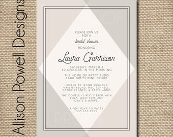 Modern Bridal Shower Invitation, Bridal Luncheon, Abstract, Black, Tan - Print your own