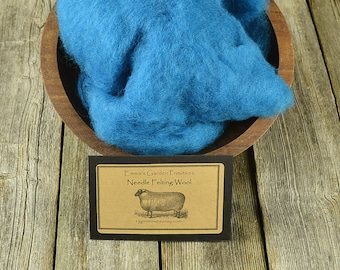 Needle Felting Wool - Ocean Blue -Wet Felting Wool- C1
