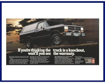 """1986 DODGE RAMCHARGER SUV Original 1985 Vintage Color Print Ad - """"If You're Thinking The Truck Is A Knockout, Wait'll You See The Warranty."""""""