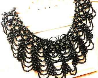 black white beaded necklace statement bib / white pearl beaded collar necklace - large ivory white vintage retro - gift for  her