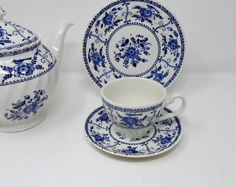 Johnson Brothers Indies Trio Cup Saucer and Tea Plate blue and white