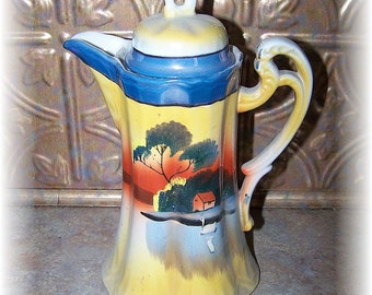 Vintage Hand Painted Swan on the Lake Chocolate Cocoa Pot MIJ