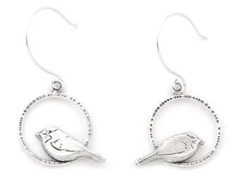 Handmade Radial Perched Chickadee Sterling Silver Earrings