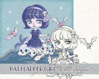 Digital Stamp Bat Flapper Girl, Digi Download Halloween Goth, Skulls Witch, Gothic Horror, Clip art, Coloring Page, Scrapbooking Supplies,