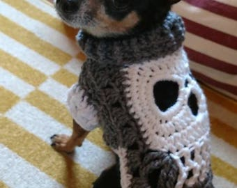 PATTERN 2 patterns in one.  Make your own Skull sm/xs Dog Sweater Jacket Scarf or Any pet clothes from a Square motif crochet DIY Tutorial