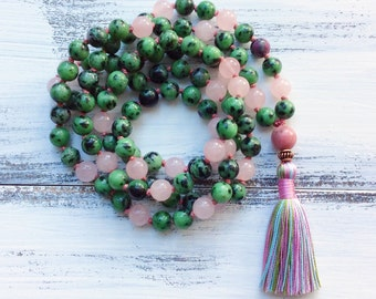 108 Mala Necklace, Prayer Beads, Yoga Mala, Buddhist Jewelry, Ruby in Zoisite / Anyolite & Rose Quartz