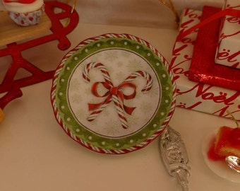 White Candy Canes Christmas Dollhouse Miniature Round Platter