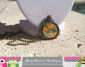 Antique Map Necklace, Antique Map Jewelry,World Necklace,World Jewelry,Antique Map Pendant, World Pendants,Map Accessories,Gifts,F2