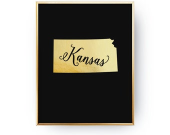 Real Gold Foil Print, Kansas Print, Kansas State Print, Gold USA State Print, USA State Poster, Kansas State Map, Kansas Silhouette,