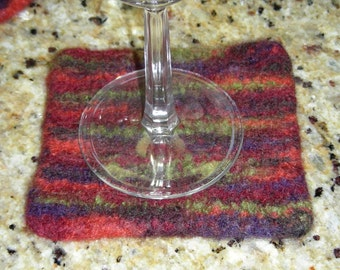 Coasters felted brown rust green orange wool hand knit set of 4