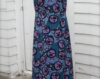 Free Bird Vintage Maxi Dress, Sleeveless, V-Neck, Low Back, Blue, Teal, Purple, Pink, 1960's Evening Gown, Large