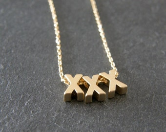 Gold Kisses 'XXX' Necklace, Gift for Her, Gift for Mother, Romantic, Love Necklace