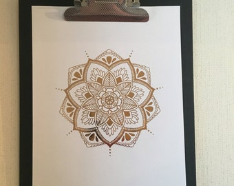 Mandala rose gold foil print. Any combination of stocked papers/foil. Names/quotes can be added