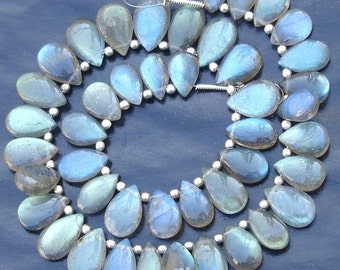 Extremely Blue Flashy Labradorite Smooth Pear Shape Briolettes, 10-12mm Long,Half Strand,Great Quality at Wholesale Price .