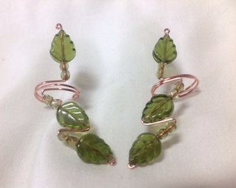 Green Leaves Earcuffs with Sterling, Copper or 14K GF Wire, comfortable and no pierced ears necessary, perfect for the Spring and Summer