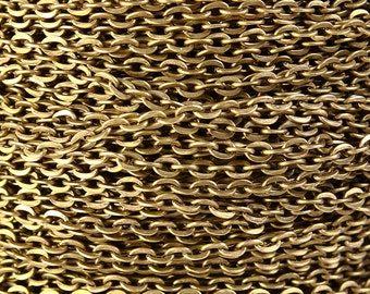 3mm x 2mm antique brass antique bronze cross chain - Nickel free Lead free - 10 feet (1217)