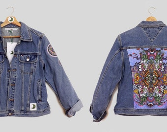 EXCLUSIVE: 2/15 Vintage Tommy Hilfiger Denim Jacket featuring sustainable and unique handmade panels and trims