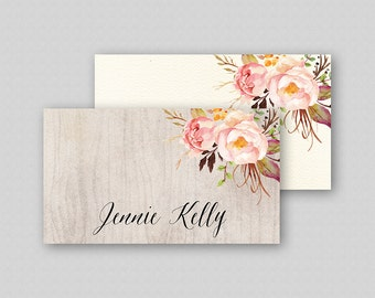 Printable Wedding Place Cards Template, Floral Place Cards Name Cards Table Tents TWO BACKGROUNDS Floral Rustic Boho Flowers Bouquet Peonies