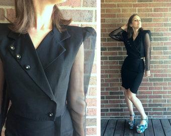 vtg 90s black CROPPED JACKET Skirt 2-Piece OUTFIT xs/s suit sheer sleeves crop cyber club kid raver high waist set pencil skirt avant garde