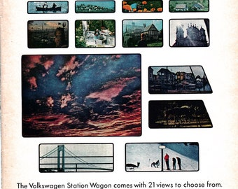 1966 VW Station Wagon Samba Minibus -Original Magazine Ad- 21 Windows - 21 Views