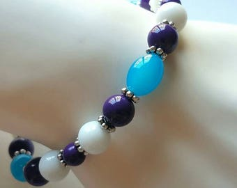 Glass Bead Bracelet Pantone Ultra Violet Turquoise White Bright Colorful Bracelet Gift For Her Unique Spring Summer Jewelry