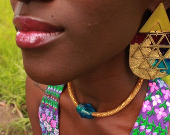 Divine Sky: Gold-Painted, Patterned Paper On Wood Earrings With Raw, Brass Triangles and Gold Leaf