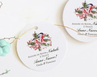 Christmas tags, personalized labels for Christmas holidays, Merry Xmas labels, close Christmas pack