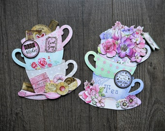 3D Card/Shaped Card/Unusual Shaped Card/Teacup Card/Floral Card/Tea&Biscuits Card -  Birthday Card - Mother's Day Card - Anniversary Card
