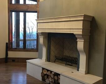 Cast limestone fireplace