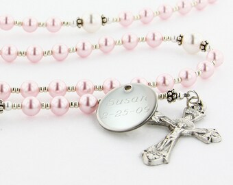 First Communion Rosary, Communion Gift, Personalized Rosary, Girl Rosary, Engraved Rosary, Rosary Beads, Pink & White Rosary, DelightPWp