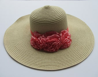 Straw Hat with Pink Ribbon