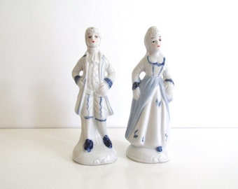Vintage Porcelain Figurines, Delft Blue and White China, Colonial Couple, French or Victorian