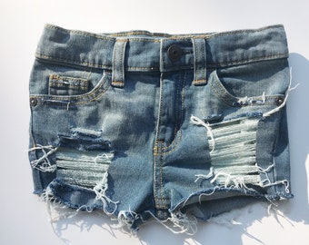 """The Little Stitches """"Henley"""" distressed shorts, cutoff, jean shorts, distressed denim jean shorts, ripped, kids, infant, baby, toddler."""