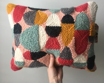 Modern Punched Rug Decorative Handmade Throw Pillow