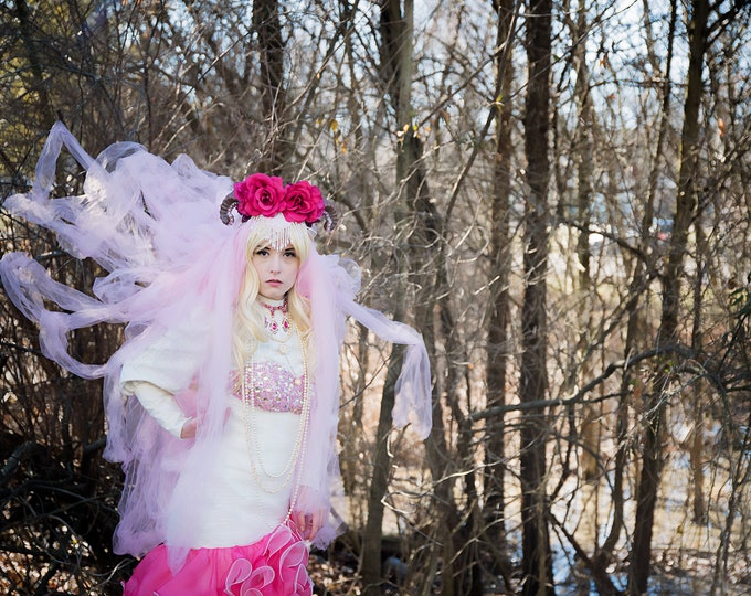 Ram Horn Headdress, Flower Headband, Lace Headdress, Veiled Headband, Beaded Headdress, Cosplay, Festival, Burning Man, Halloween, Horns