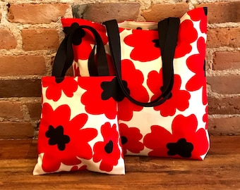 Red Poppy Large & Mini tote bags, Marimekko Like, Fully lined with Magnet button closure, Mom and Daughter, matching bags, Bag in Bag