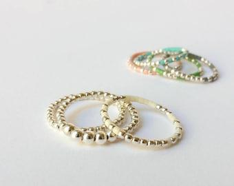 Silver ring set - Set 3 Rings - Stack Ring Set - Cream white ring - Sterling silver rings - Layer ring - Silver stacking rings