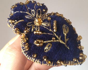 Dark Blue Velvet Heart. Folk Flaming Heart. Embroidery.