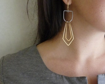 DIAMANT EARRINGS - Long Layered Earrings with Gold and Oxidized Silver - Geometric Hammered Earrings