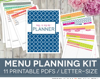 Meal Planner Printable Set - 11 Pages - EDITABLE Weekly Menu Plan, Recipe Card Page, Grocery Shopping List
