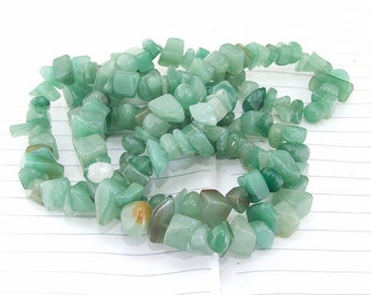 """Long strand Nugget Green Jade Beads ----- 7mmx8mm ----- about 180Pieces ----- gemstone beads--- 32"""" in length"""