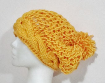 Hand Knitted Hat with pom pom - Mustard Yellow - Winter - Beanie - Cable Knit - Beret - Slouch - Slouchy - Tam