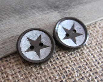 10 x round buttons star 20mm wooden