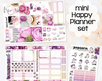 NewRELEASE Amy's Day pink floral set kit weekly stickers - MINI Happy Planner - flowers purple glitter roses