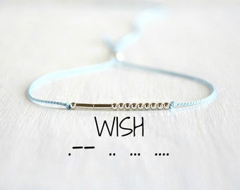 Wish Morse Code Bracelet Custom Motivational Jewelry Inspiration Morse Code Bracelet Minimalist Dainty Silk Cord Silver Beaded Bracelet