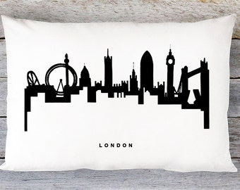 London Skyline Pillow Cover - London Cityscape Throw Pillow Cover - Modern Black and White Lumbar Pillow - By Aldari Home