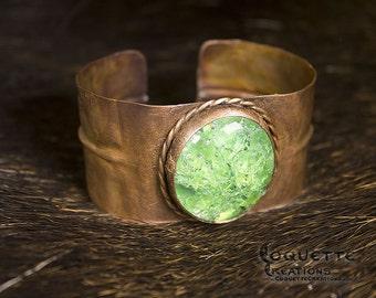 Hammered Copper Green Glass Cuff Bracelet